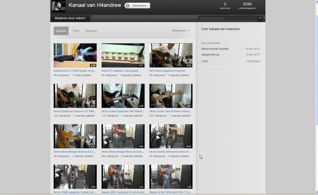 Overzicht Youtube kanaal H4Andrew